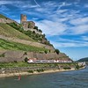 The area of Germany known as MittelRhein is littered with old castles like this one, Ehrenfels Castle, located between Rudesheim and Assmannshausen on the Rhine River