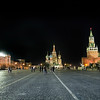 Red Square in Moscow at night, left to right: Gum Department Store, St. Basil's Cathedral, and Kremlin with Lenin Mausoleum