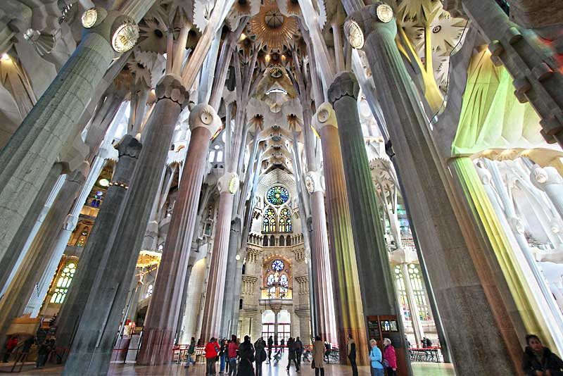 Interior of Sagrada Familia Cathedral in Barcelona, Spain, designed by Antoni Gaudi
