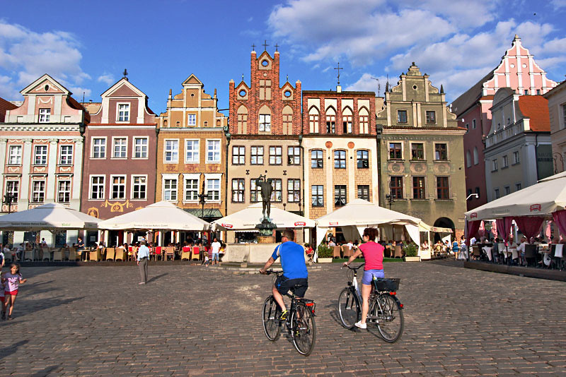 The uncrowded Old Market Square of Poznan, Poland is a delight to walk or bike