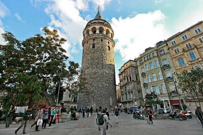 Galata Tower is the most prominent landmark in the Galata neighborhood in Istanbul, Turkey