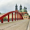 Jordan Bridge frames Archbishop's Basilica of St. Peter and Paul in Poznan, Poland