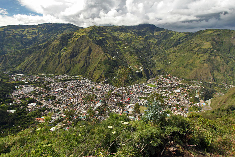 View of Banos, Ecuador from mountaintop