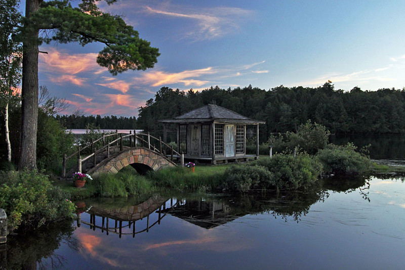 Tea house on a spit of land at White Pine Camp in Paul Smiths, Adirondacks, NY