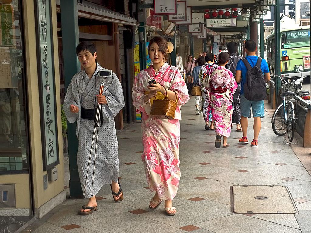 In Kyoto, Japanese wear traditional Yukata as everyday attire