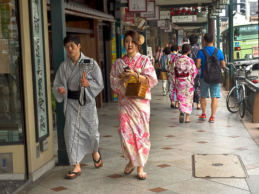 In Kyoto, Japanese wear traditional Yukata as everyday attire