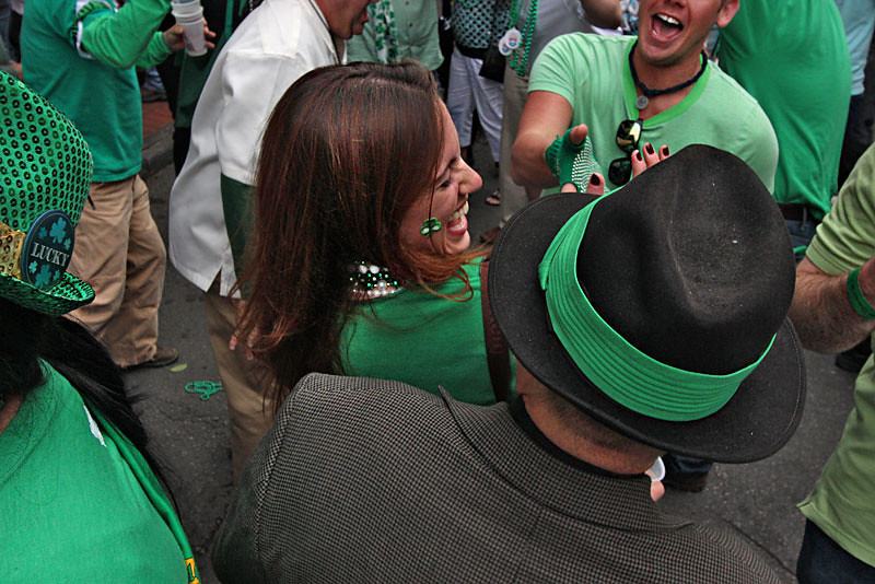 Irish residents of New Orleans dance during a