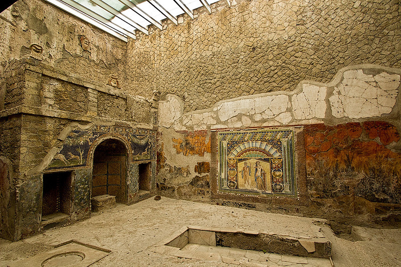 Glass paste wall mosaics in House of Neptune and Amphitrite  at Herculaneum