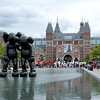 Temporarily placed in front of Amsterdam's Rijksmuseum, these giant cartoon characters, a hallmark of the artist known as KAWS,  present an interesting juxtaposition for a museum that focuses on old masters