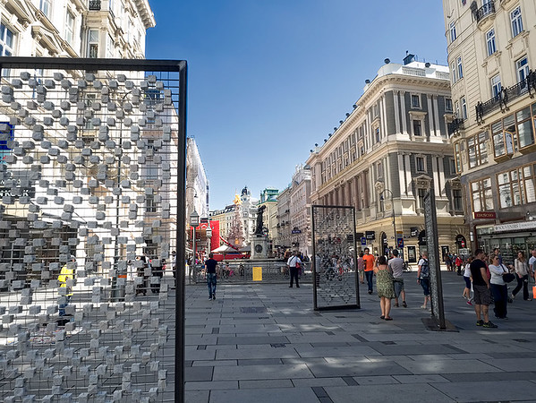 As the first ever pedestrian zone in Austria's capital city, Graben Street in Vienna, Austria is often home to art installations like these geometric panels