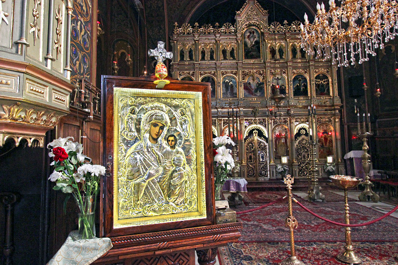 Icon of the Virgin Mother inside the Orthodox Cathedral at Piata Sfatului in Brasov, Romania