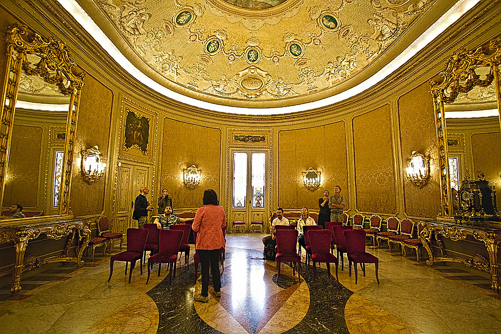 Hall of Mirrors at the Municipio (Town Hall) in the Baroque town of Noto, Sicily, was modeled after the Hall of Mirrors in Versailles, France.