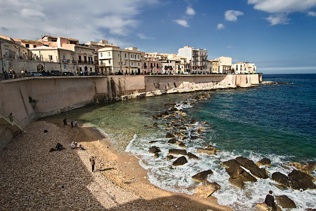 Houses along Lungomare d'Ortigia, which fronts the Mediterranean on the eastern side of the Old Town area of Syracuse, Sicily.
