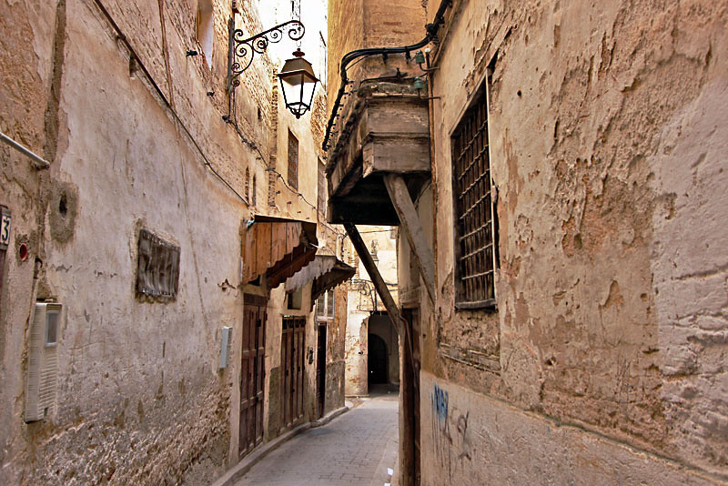 Narrow winding alleys of the Medina in Fez, Morocco