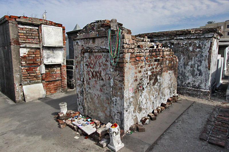 Tomb of Voodoo Queen Marie Leveau in St. Louis Cemetery #2 in New Orleans