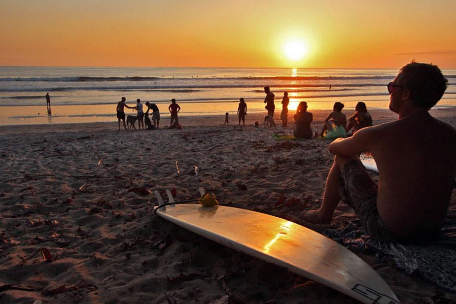 Sunset and waves on Santa Teresa beach, Costa Rica