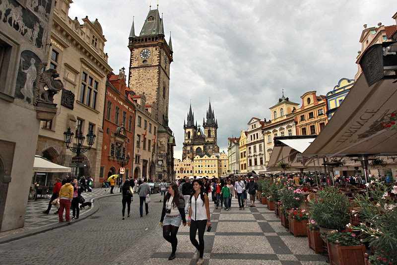 Fairy Tale Old Town Square in Prague, with St. James Church and the Astronomical Clock