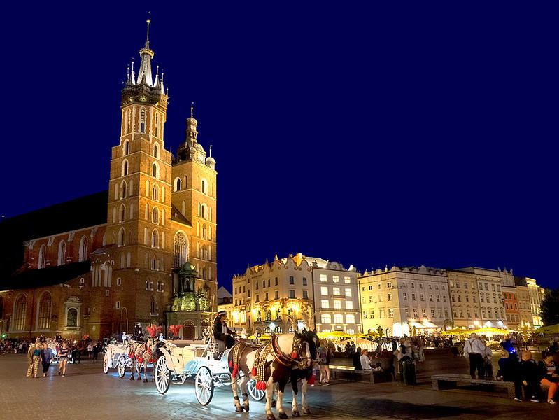 Saint Mary's Basilica and Main Square in Krakow, Poland