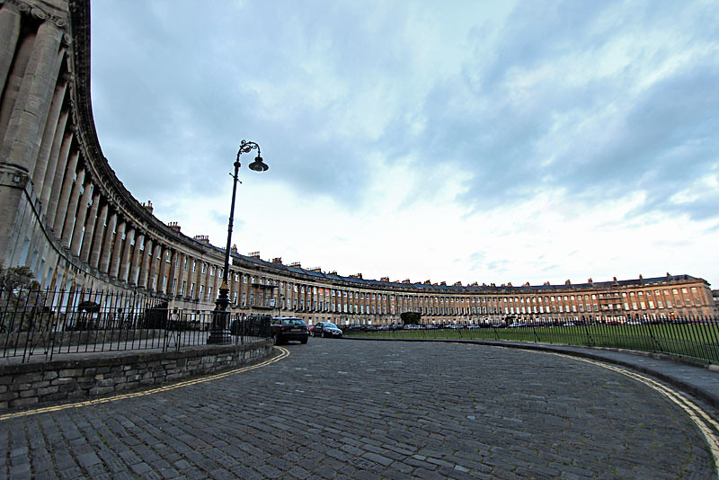 The Royal Crescent, built in the Georgian style around 1770 as private residences in Bath, England