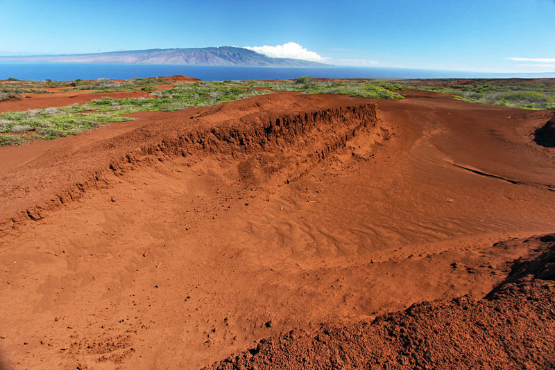 Iron rich volcanic eruptions created Lana'i's vivid red soil