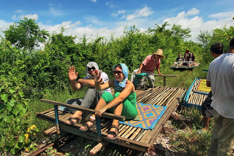 Riding the bamboo train in Battambang, Cambodia