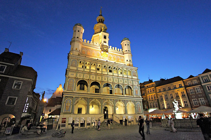 Town Hall in the Old Market Square in Poznan, Poland, is especially beautiful by night