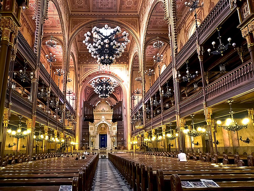 Lavish interior of the Dohany Synagogue in Budapest, Hungary