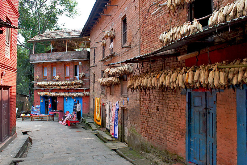 In Changu Narayan, dried corn hangs from eaves to keep it safe from rodents