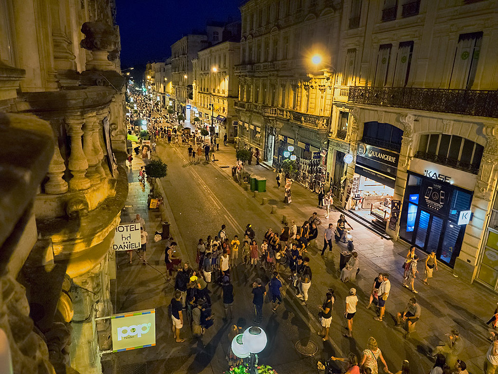 During the month of July the Avignon Theater Festival closes the streets for pedestrian traffic only and visitors from all over the world come to party and attend some of the hundreds of plays and performances offered