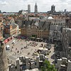 View over Sint Veerleplein Square in Ghent, Belgium, taken from the ramparts of Gravensteen Castle