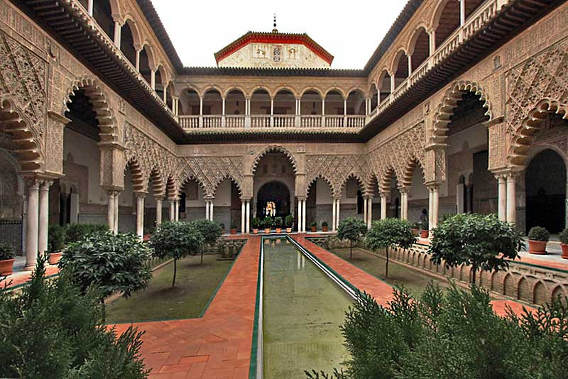 Interior courtyard at the Royal Alcazar in Seville, Spain