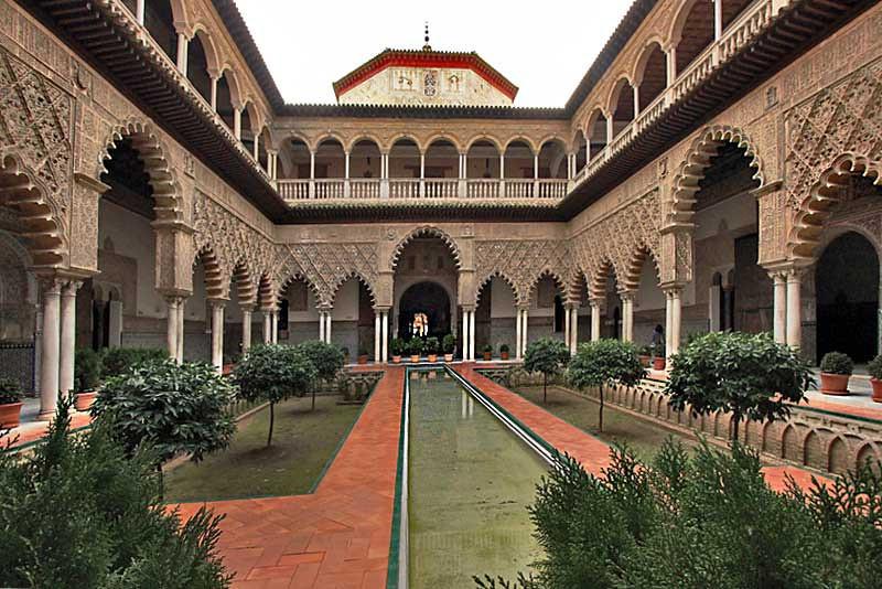 Interior courtyard at the Royal Alcazar in Seville, Spain