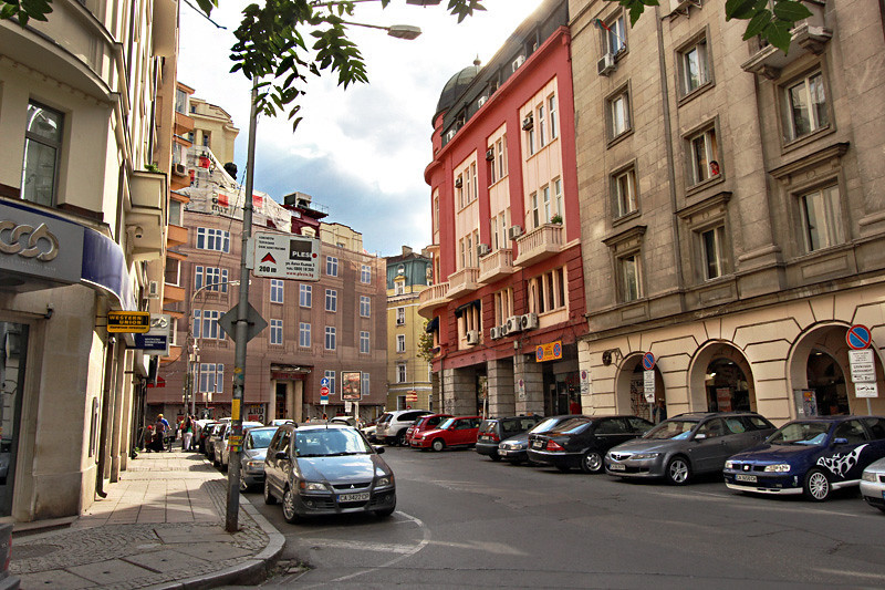 Typical city street scene in the center of Sofia, Bulgaria