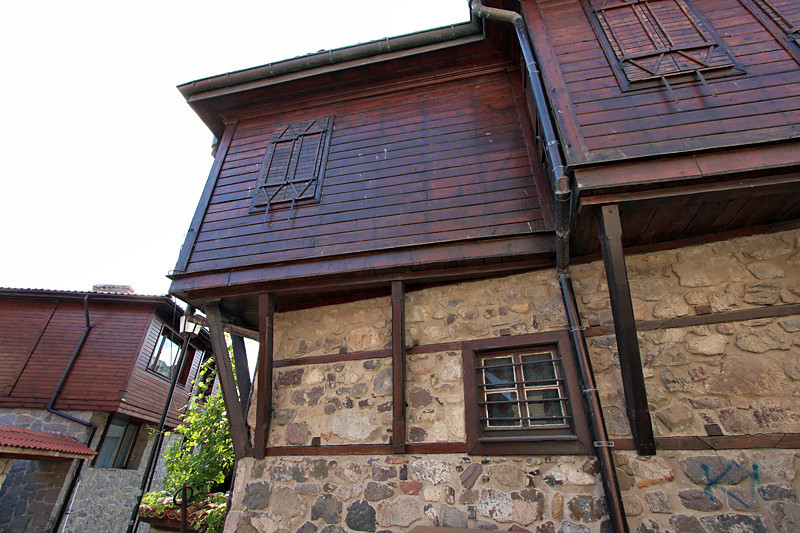 Traditional old wooden houses on tall stone foundations in Sozopol, Bulgaria