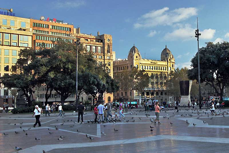 Plaza Catalunya in the historic and cultural center of Barcelona