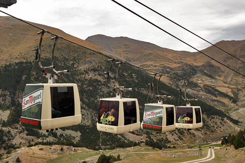 Riding the tram to the top of the mountain in Vall de Nuria, Catalonia, Spain