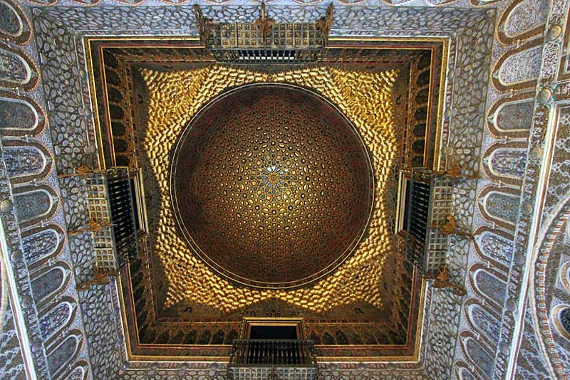 Gorgeous mosaic ceiling at the Royal Alcazar in Seville, Spain