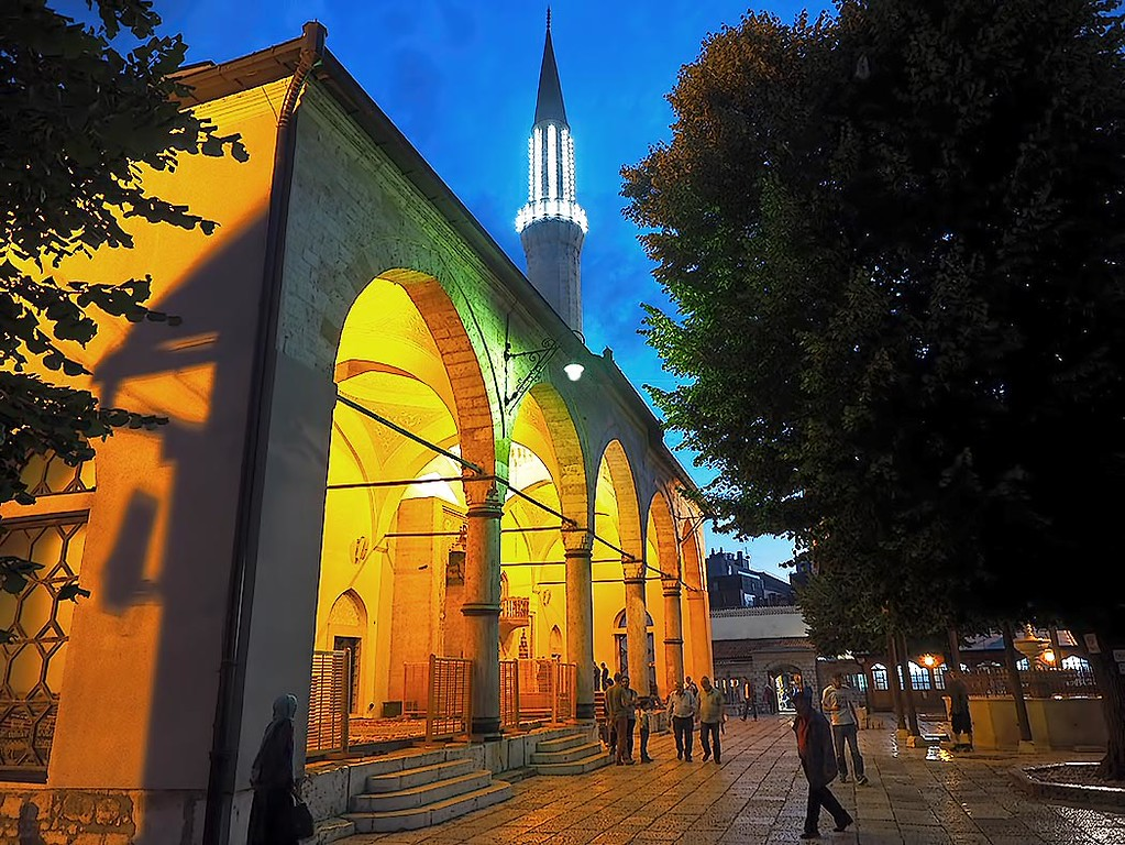 The spectacular Gazi Husrev Beg Mosque in the old town of Sarajevo, Bosnia-Herzegovina, is most spectacular at night