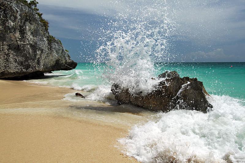 Tulum Beach in Mexico, beneath the Tulum Mayan ruins