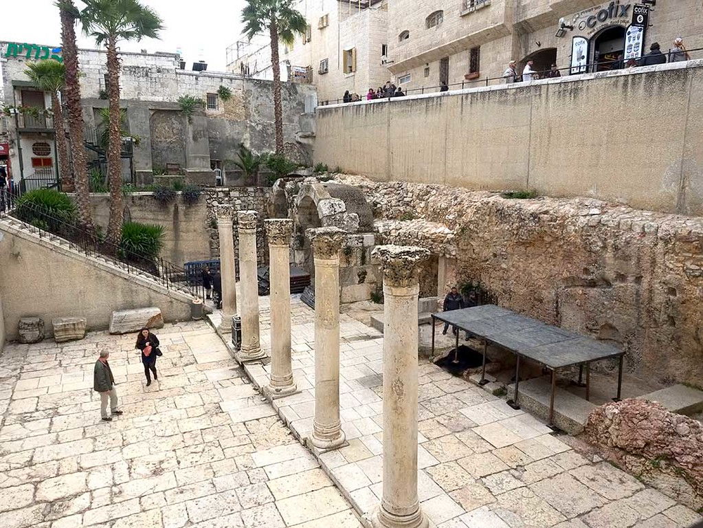 Roman road known as the Cardo Maximus in the Old City of Jerusalem, lies many feet below the existing ground level