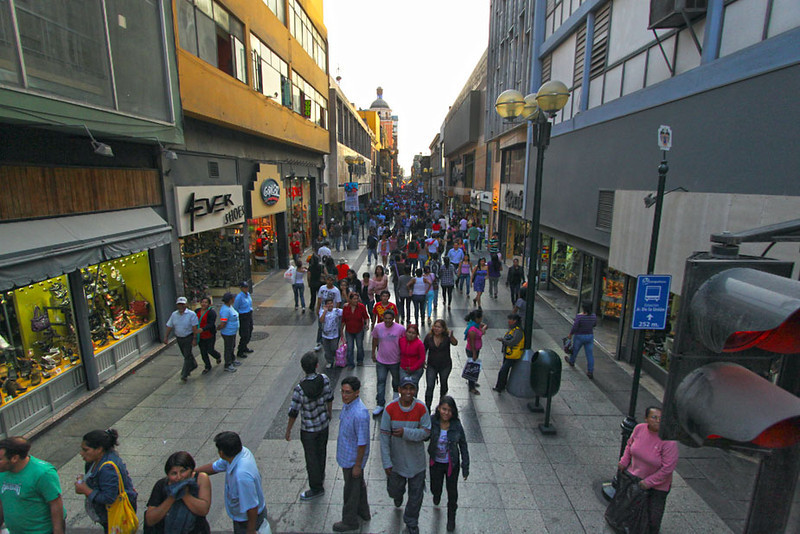 Midday shoppers on Jiron de la Union pedestrian mall in Lima