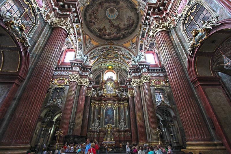 Dazzling interior of the Parish Church of Saint Stanislau in Poznan, Poland