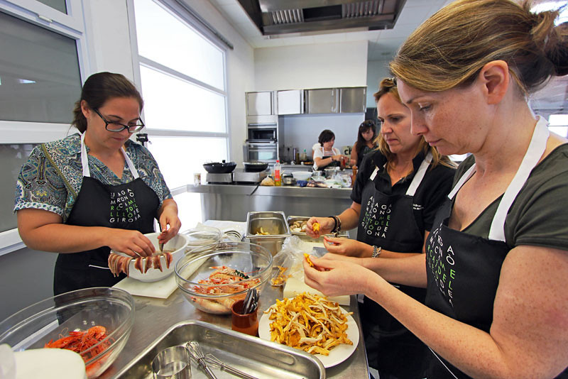 Our cooking class in Girona, Spain prepares fresh mushrooms and anchovies