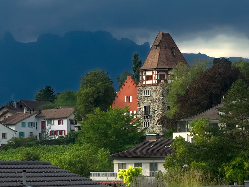 The  Eclectic Architecture in Vaduz, Liechtenstein includes The Red The Red House, a gabled stairs structure with a large tower that contains the living quarters