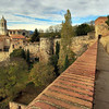 Walking along the top of the Muralla, the old Roman wall in Girona, Spain