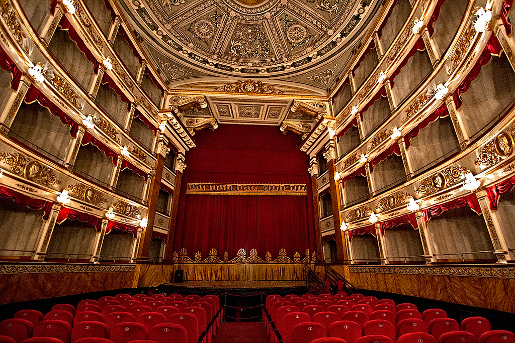 Stunning interior of the recently restored Baroque Teatro Tina di Lorenzo, located on Piazza XVI Maggio in the Baroque town of Noto, Sicily.