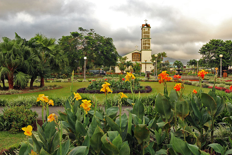 Pretty church and gardens in La Fortuna, Costa Rica