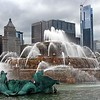 Buckingham Fountain, located in Chicago's Grant Park on the lakefront, was modeled after a fountain in the Palace of Versailles, France
