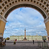 Alexander Column and Hermitage Museum, seen through the arch of the General Staff Building of the Hermitage in St. Petersburg, Russia