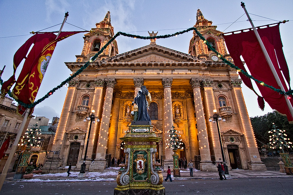 Saint Publius Church is illuminated with thousands of white lights during the Feast of St. Publius in Floriana, Malta